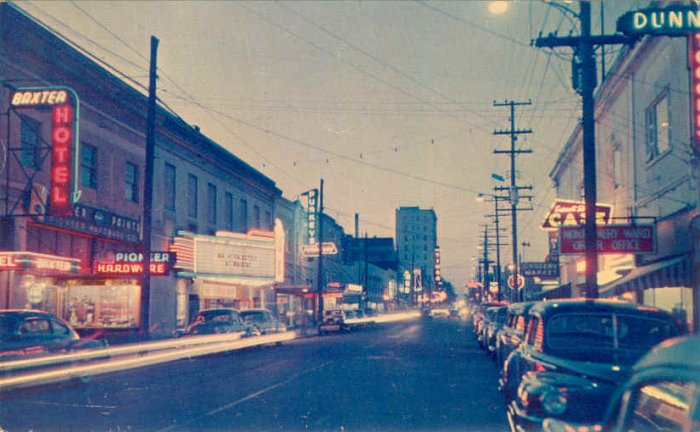 Broadway street scene showing Egyptian signage, date unknown