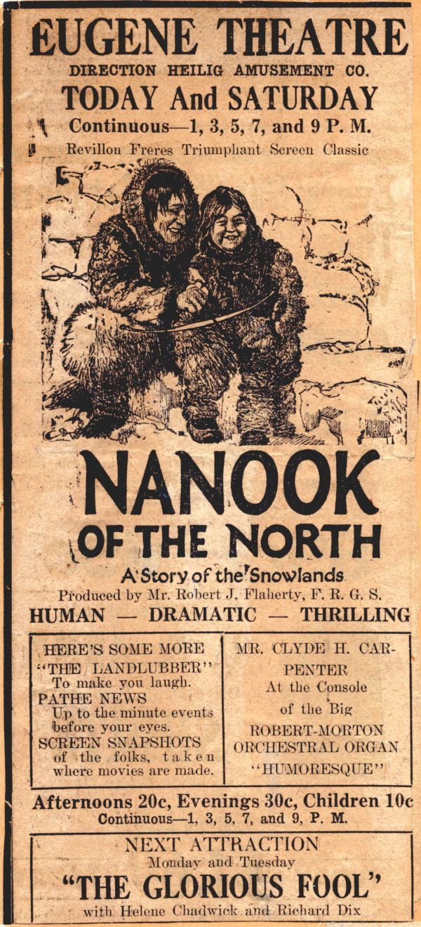 "a review of the 1922 film nanook of the north Robert flaherty's ""nanook of the north"" (1922) eastern canada, the film follows nanook (allakariallak) and his family over ice flows, tun-dra."