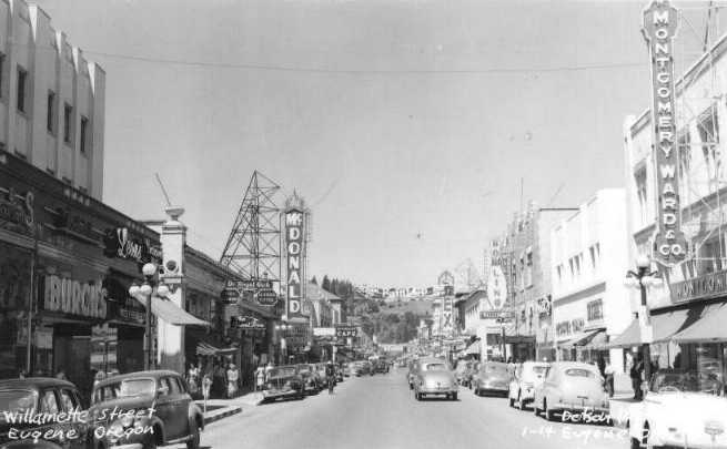 Willamette street mcdonald theatre on left c 1948