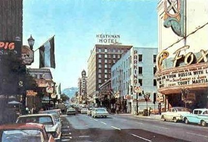 Looking North On Broadway At Salmon Street, Fox Theatre On Left, C.1955.